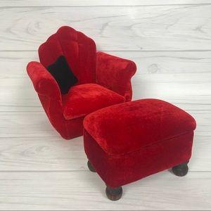 "SUPER CUTE Miniature Red Velvet Chair & Ottoman 8"""
